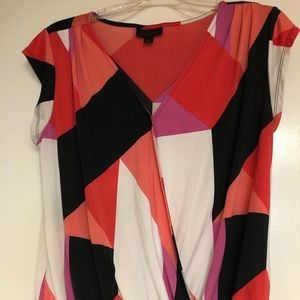 Worthington Geometric Wrap Blouse